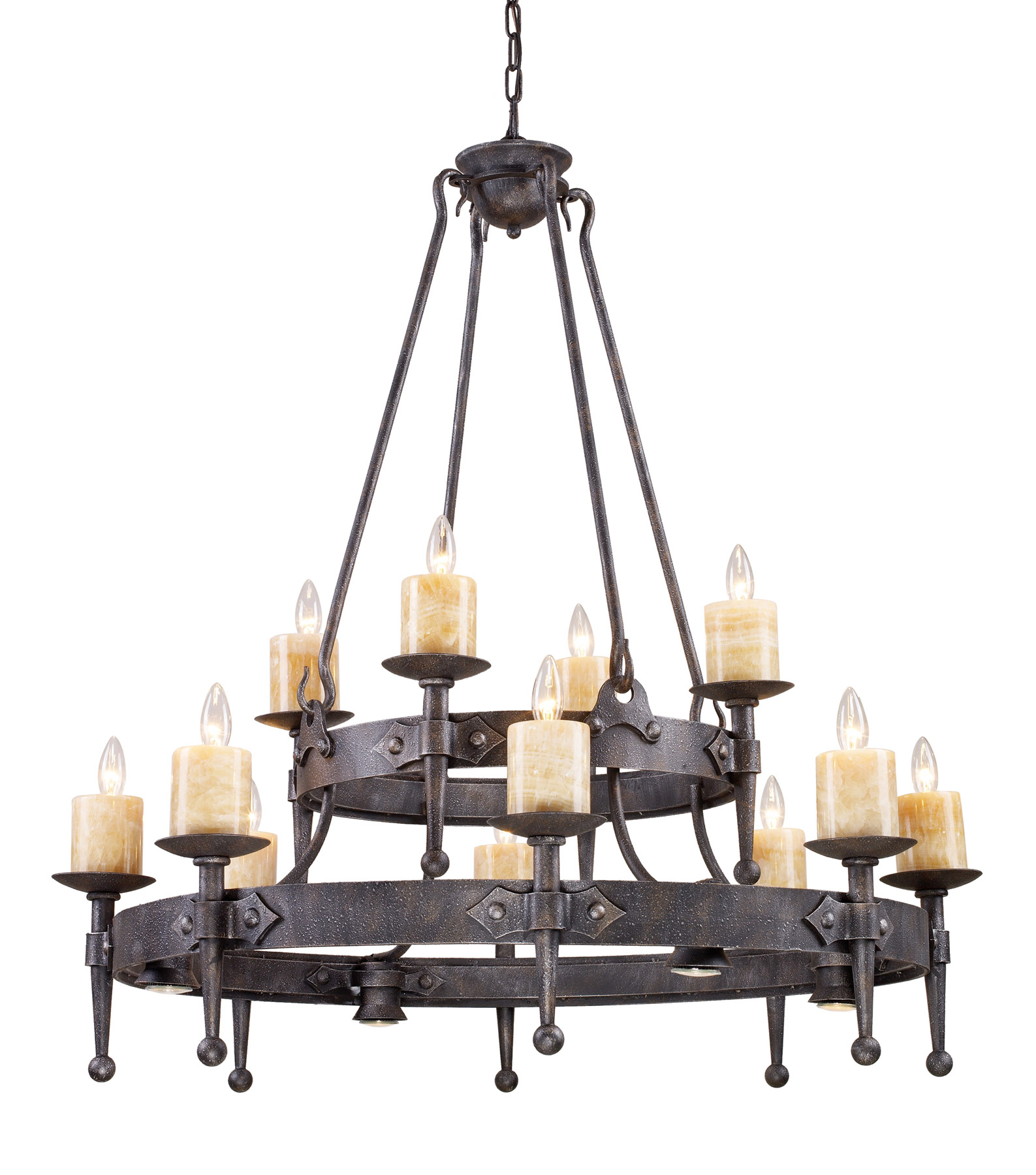 Hand forged and wrought iron ceiling mounted lighting lamps beautiful elk lighting 14006844 cambridge twenty four light chandelier mozeypictures Image collections
