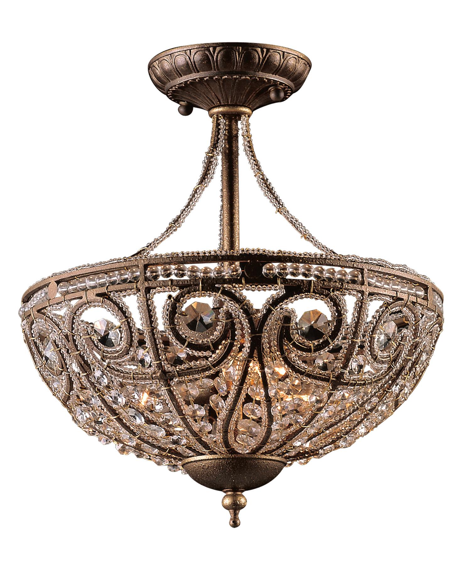 Elk Lighting 5964/3 Crystal Elizabethan Semi-Flush Ceiling ...