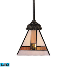 Elk Lighting 078-TB-01-LED Tiffany Mix-N-Match 1 Light LED Pendant In Tiffany Bronze And Multicolor Glass
