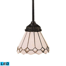 Elk Lighting 078-TB-04-LED Tiffany Mix-N-Match 1 Light LED Pendant In Tiffany Bronze And Multicolor Glass