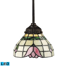Elk Lighting 078-TB-09-LED Tiffany Mix-N-Match 1 Light LED Pendant In Tiffany Bronze And Multicolor Glass