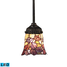 Elk Lighting 078-TB-17-LED Tiffany Mix-N-Match 1 Light LED Pendant In Tiffany Bronze And Multicolor Glass
