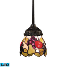 Elk Lighting 078-TB-19-LED Tiffany Mix-N-Match 1 Light LED Pendant In Tiffany Bronze And Multicolor Glass