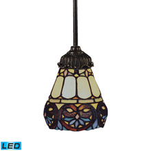 Elk Lighting 078-TB-21-LED Tiffany Mix-N-Match 1 Light LED Pendant In Tiffany Bronze And Multicolor Glass