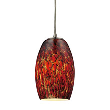 Elk Lighting 10220/1EMB-LED Maui 1 Light LED Pendant In Satin Nickel And Ember Glass