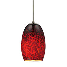 Elk Lighting 10220/1FBR-LED Maui 1 Light LED Pendant In Satin Nickel And Firebrick Glass