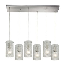 Elk Lighting 10242/6RC-CL Ice Fragments 6 Light Pendant In Satin Nickel And Clear Glass