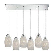 Elk Lighting 10245/6RC Etched Glass 6 Light Pendant In Polished Chrome And White