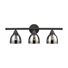 Elk Lighting 10272/3 3-Light Vanity Lamp in Oil Rubbed Bronze with Chrome-plated Glass