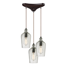 Elk Lighting 10331/3CLR Hammered Glass 3 Light Pendant In Oil Rubbed Bronze And Clear Glass
