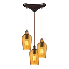 Elk Lighting 10331/3HAMB Hammered Glass 3 Light Pendant In Oil Rubbed Bronze And Amber Glass