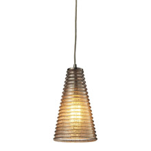 Elk Lighting 10333/1 Ribbed Glass 1 Light Mini Pendant In Satin Nickel And Mercury Glass
