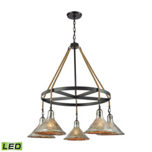 Elk Lighting 10436/5CH-LED Hand Formed Glass 5 Light LED Chandelier In Oil Rubbed Bronze