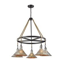 Elk Lighting 10436/5CH Hand Formed Glass 5 Light Chandelier In Oil Rubbed Bronze