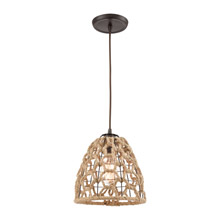 Elk Lighting 10709/1 1-Light Mini Pendant in Oil Rubbed Bronze with Rope