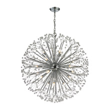 Elk Lighting 11547/19 Crystal Starburst 19 Light Chandelier In Polished Chrome And Crystal
