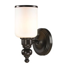 Elk Lighting 11590/1 Bristol Way 1 Light Vanity In Oil Rubbed Bronze And Opal White Glass