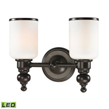 Elk Lighting 11591/2-LED Bristol Way 2 Light LED Vanity In Oil Rubbed Bronze And Opal White Glass