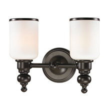 Elk Lighting 11591/2 Bristol Way 2 Light Vanity In Oil Rubbed Bronze And Opal White Glass