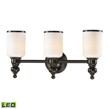 Elk Lighting 11592/3-LED Bristol Way 3 Light LED Vanity In Oil Rubbed Bronze And Opal White Glass