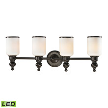 Elk Lighting 11593/4-LED Bristol Way 4 Light LED Vanity In Oil Rubbed Bronze And Opal White Glass