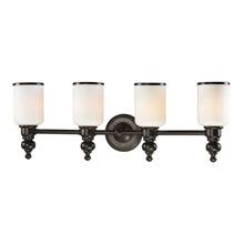 Elk Lighting 11593/4 Bristol Way 4 Light Vanity In Oil Rubbed Bronze And Opal White Glass