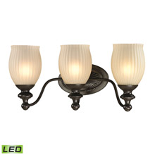 Elk Lighting 11652/3-LED Park Ridge 3 Light LED Vanity In Oil Rubbed Bronze And Reeded Glass