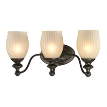 Elk Lighting 11652/3 Park Ridge 3 Light Vanity In Oil Rubbed Bronze And Reeded Glass