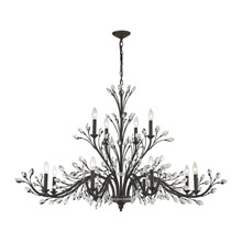 Elk Lighting 11777/8+4 Crystal Crystal Branches 12 Light Chandelier In Burnt Bronze