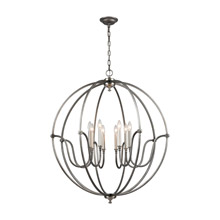 Elk Lighting 11844/8 Stanton 8 Light Chandelier In Weathered Zinc With Brushed Nickel Accents