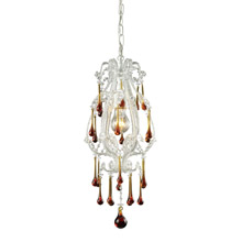 Elk Lighting 12003/1AMB 1-Light Mini Pendant in Antique White with Amber Crystals