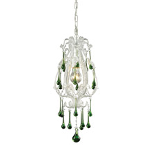 Elk Lighting 12003/1LM 1-Light Mini Pendant in Antique White with Lime Crystals