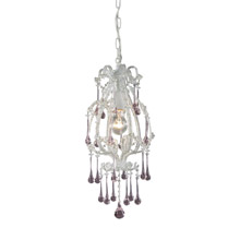 Elk Lighting 12003/1RS 1-Light Mini Pendant in Antique White with Rose Crystals