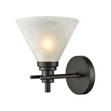 Elk Lighting 12400/1 1-Light Vanity Lamp in Oil Rubbed Bronze with White Marbleized Glass
