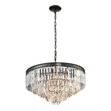 Elk Lighting 14214/5+1 Crystal Palacial 6 Light Pendant In Oil Rubbed Bronze
