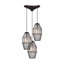 Elk Lighting 14248/3 Crystal Yardley 3 Light Pendant In Oil Rubbed Bronze