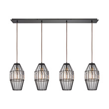 Elk Lighting 14248/4LP Crystal Yardley 4 Light Pendant In Oil Rubbed Bronze