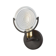 Elk Lighting 14500/1 1-Light Vanity Lamp in Oil Rubbed Bronze and Satin Brass with Clear Railroad Glass