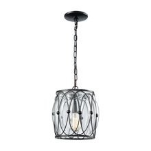 Elk Lighting 14520/1 1-Light Mini Pendant in Gloss Black with Clear Blown Glass