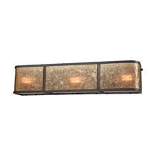 Elk Lighting 15038/3 3-Light Vanity Sconce in Oil Rubbed Bronze with Tan Mica Shade