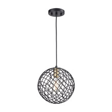 Elk Lighting 15293/1 1-Light Mini Pendant in Matte Black and Satin Brass with Wire Cage