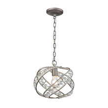 Elk Lighting 16247/1 1-Light Mini Pendant in Weathered Zinc with Crystal