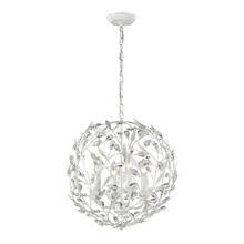 Elk Lighting 18124/4 Crystal Circeo 4 Light Pendant In Antique White