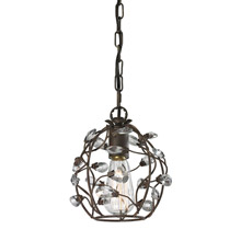 Elk Lighting 18141/1 Crystal Sagemore 1 Light Pendant In Bronze Rust