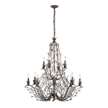 Elk Lighting 18147/8+4 Crystal Sagemore 12 Light Chandelier In Bronze Rust