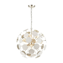 Elk Lighting 18285/6 6-Light Chandelier in Matte White with White Discs