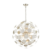 Elk Lighting 18286/8 8-Light Chandelier in Matte White with White Discs