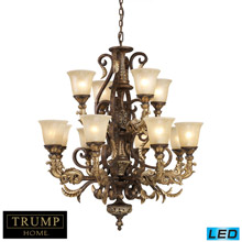 Elk Lighting 2165/8+4-LED Crystal Regency 12 Light LED Chandelier In Burnt Bronze And Gold Leaf
