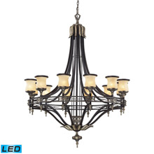 Elk Lighting 2434/12-LED Georgian Court 12 Light LED Chandelier In Antique Bronze And Dark Umber
