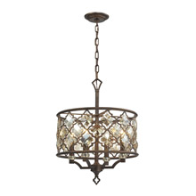 Elk Lighting 31096/4 Crystal Armand 4 Light Pendant In Weathered Bronze